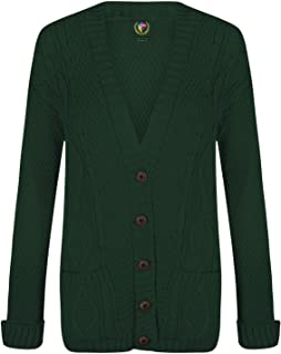 Ladies Boyfriend Cardigans Cable Knit Chunky Grandad Sweater Womens Jumper Top