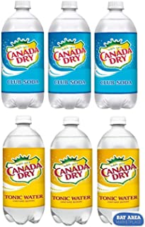 TONIC WATER AND CLUB SODA 6pack Canada Dry!!! 3 ONE LITER PLASTIC BOTTLES OF EACH!! (Bay Area Marketplace totebag included!)
