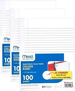 Mead Loose Leaf Paper, Filler Paper, Reinforced, College Ruled, 100 Sheets, 10-1/2