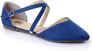 Trary Women's D'Orsay Criss Cross Strap Ballet Flat Shoes