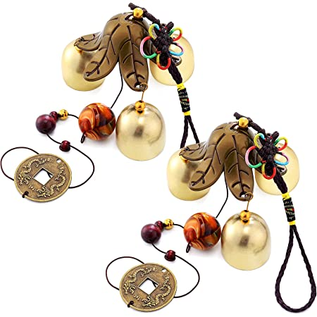 2 Pieces Lucky Wind Chimes Feng Shui Wind Bell 3 Bells Hanging Bell Chimes For Good Luck Home Garden Patio Hanging Decoration Garden Outdoor