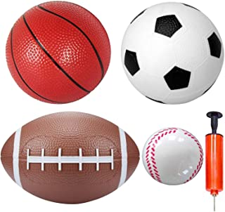 Rubber Dodgeball Balls Set Small Football Baseball Little Basketball Soccer Replacement for Indoor Outdoor Home Office Pla...