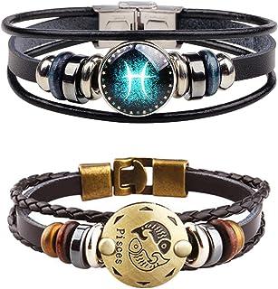 YANCHUN 2 Pcs Punk 12 Zodiac Constellation Bracelet Leather Horoscope Bracelet Bangle Set for Women Men