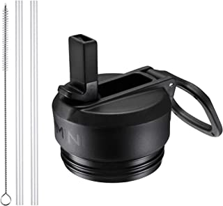 Vmini Straw Lid/Cap, Compatible with YETI Rambler Lid, RTIC Bottle Lid and More, Wide and Rotating Handle, Including Straws and Brush - Black