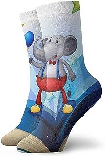 Novedad Divertida Crazy Crew Sock Book con un elefante que sostiene dos globos Calcetines deportivos impresos Calcetines personalizados de 30 cm de largo