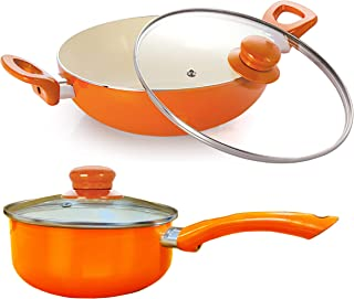 Nirlon Ceramic Induction Base Aluminium Cookware Set, 2-Pieces, Orange
