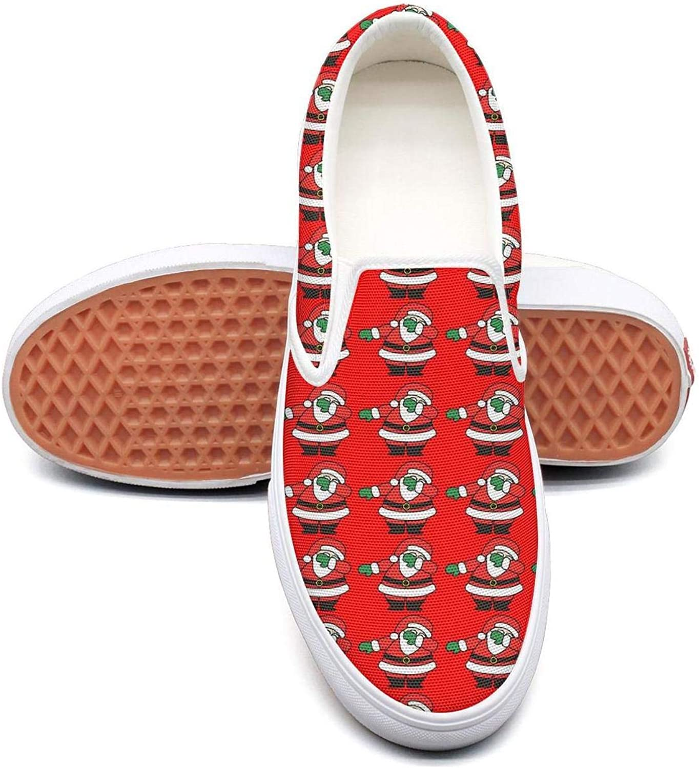 Refyds-es Dabbing Santa Womens Fashion Slip on Low Top Lightweight Canvas Sneakers