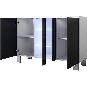 muebles bonitos Aparador Modelo Luke A1 (120x82cm) Color Blanco y Negro con Patas de Aluminio: Amazon.es: Hogar