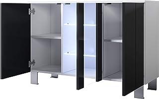 muebles bonitos Aparador Modelo Luke A1 (120x82cm) Color Blanco y Negro con Patas de Aluminio