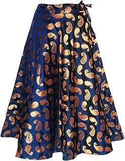 SNEH Women's Chanderi Brocade Skirt (Blue,Free Size)