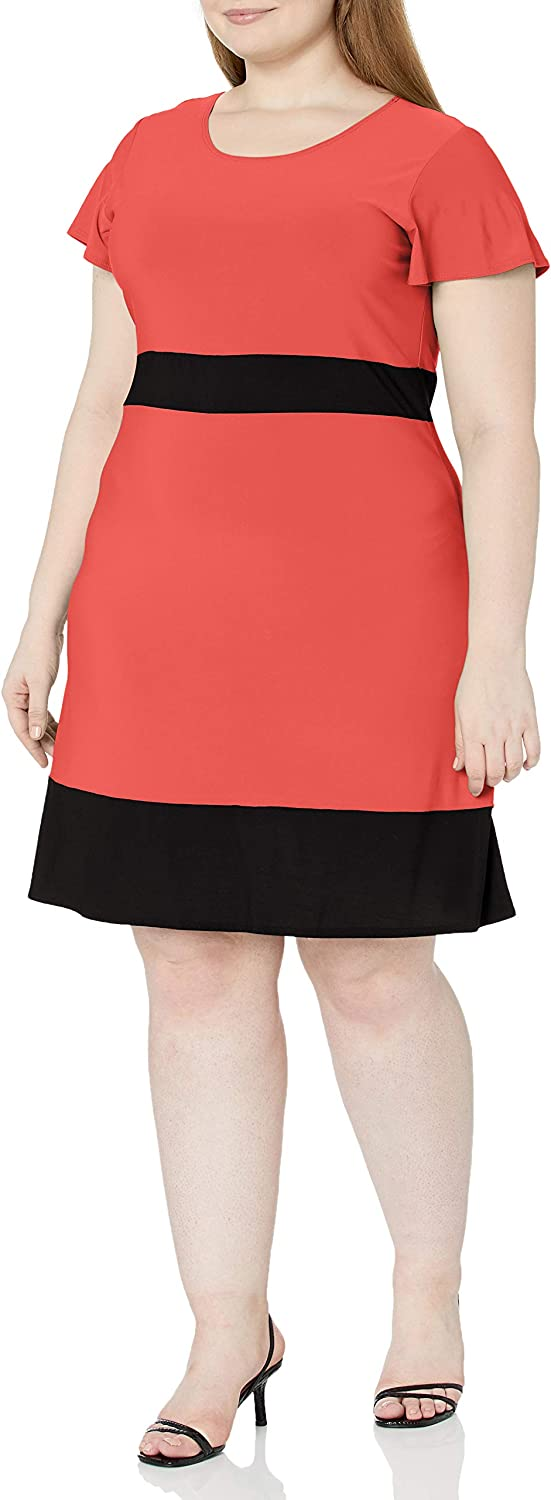 Credence Star Vixen Women's Plus-Size Colorblock Skater Sleeve Dres Challenge the lowest price of Japan ☆ Short