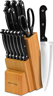 Knife Set with Wooden Block 13 Piece – Chef Knife, Bread Knife, Carving Knife,..
