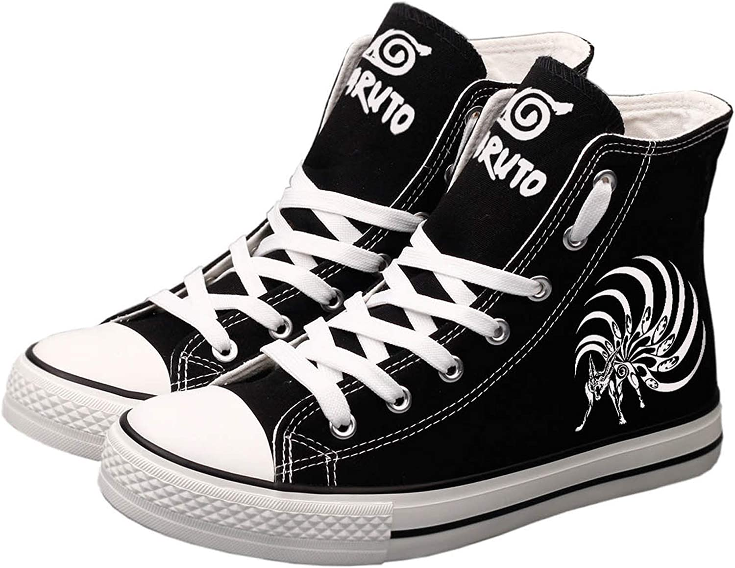 Amkoskr Fashion Naruto Canvas shoes Hand-Painted High Top Sneakers Casual Cosplay Sneakers Unisex Designs Women Men Black