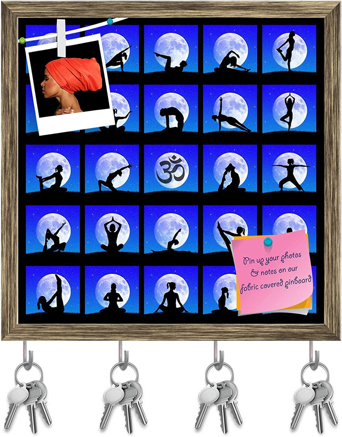 Artzfolio Yoga Poses D2 Key Holder Hooks   Notice Pin Board   Antique golden Frame 20 X 20Inch