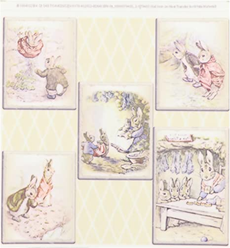 3dRose qs/_110164/_4 Peter Rabbit in The Garden-Vintage Art-Quilt Square 12 by 12-Inch