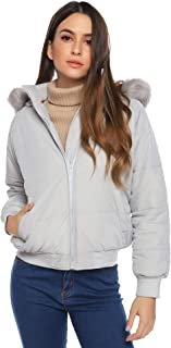 Aibrou Womens Hooded Warm Winter Front Open Coats with Faux Fur Jackets