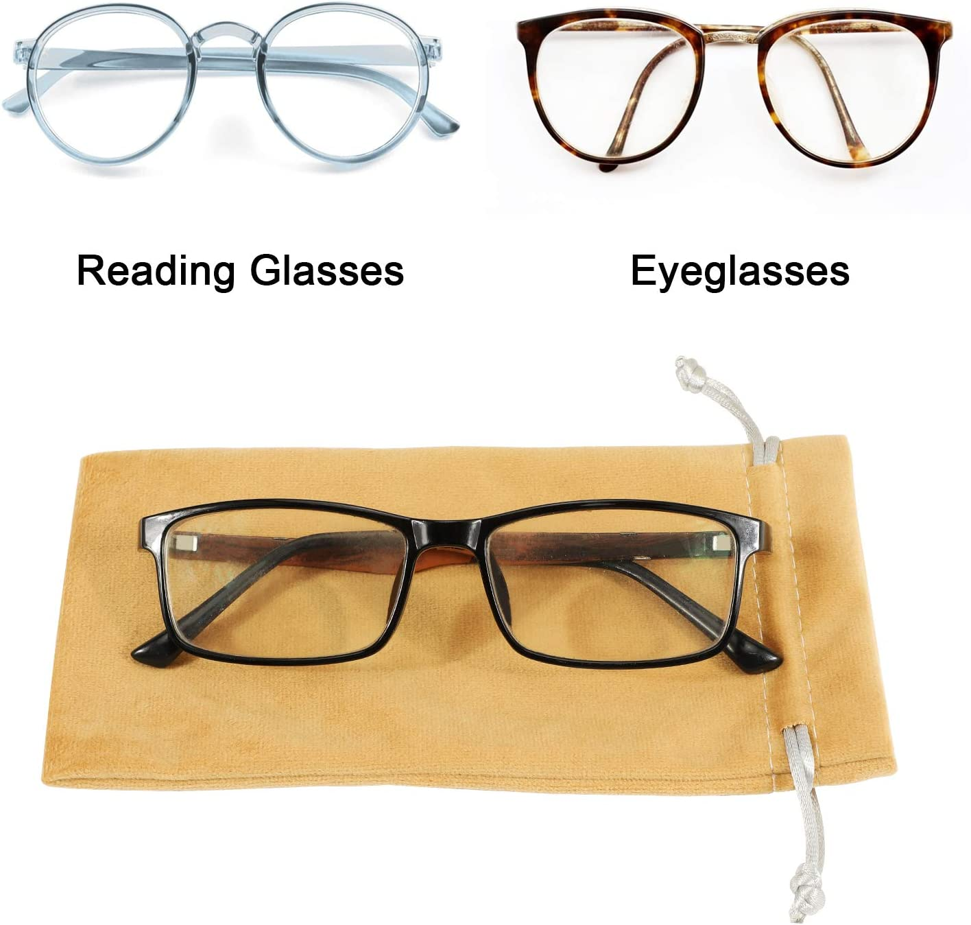Hifot Leather Eyeglasses Case 3 Pack, PU Leather Portable Travel Soft Sunglasses Pouch Spectacles Bag for Women Men Kids, Gadgets StoragePouch