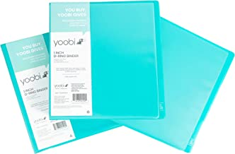 Yoobi 3-Ring Binders | 3-Pack, 1 Inch Size | Aqua | Holds 275 Pages Each, with Pockets for Organization | for School, Home, or Office Use