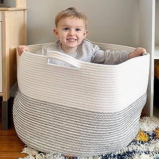 "Goodpick Large Basket 23.6""D x 14.2""H | Jumbo Woven Basket | Cotton Rope Basket | Baby Laundry Basket Hamper with Handles ..."