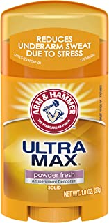 Arm & Hammer Ultra Max Solid Antiperspirant Deodorant, Powder Fresh, 1 Ounce Travel Size (Pack of 10)