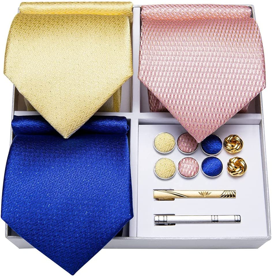 CDQYA 3 Pack Fashion Silk Tie Solid Yellow Blue Pink Necktie Set Gift For Men Wedding Tie Cufflinks (Color : Yellow Blue Pink, Size : One size)