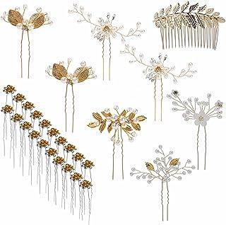 inSooni 28 Pack لباس عروس عروس عروس + شانه + U شکل موهای سنجاق کلیپ قطعات لوازم جانبی Rhinestone مروارید طلای گل برای دختران دختران عروس