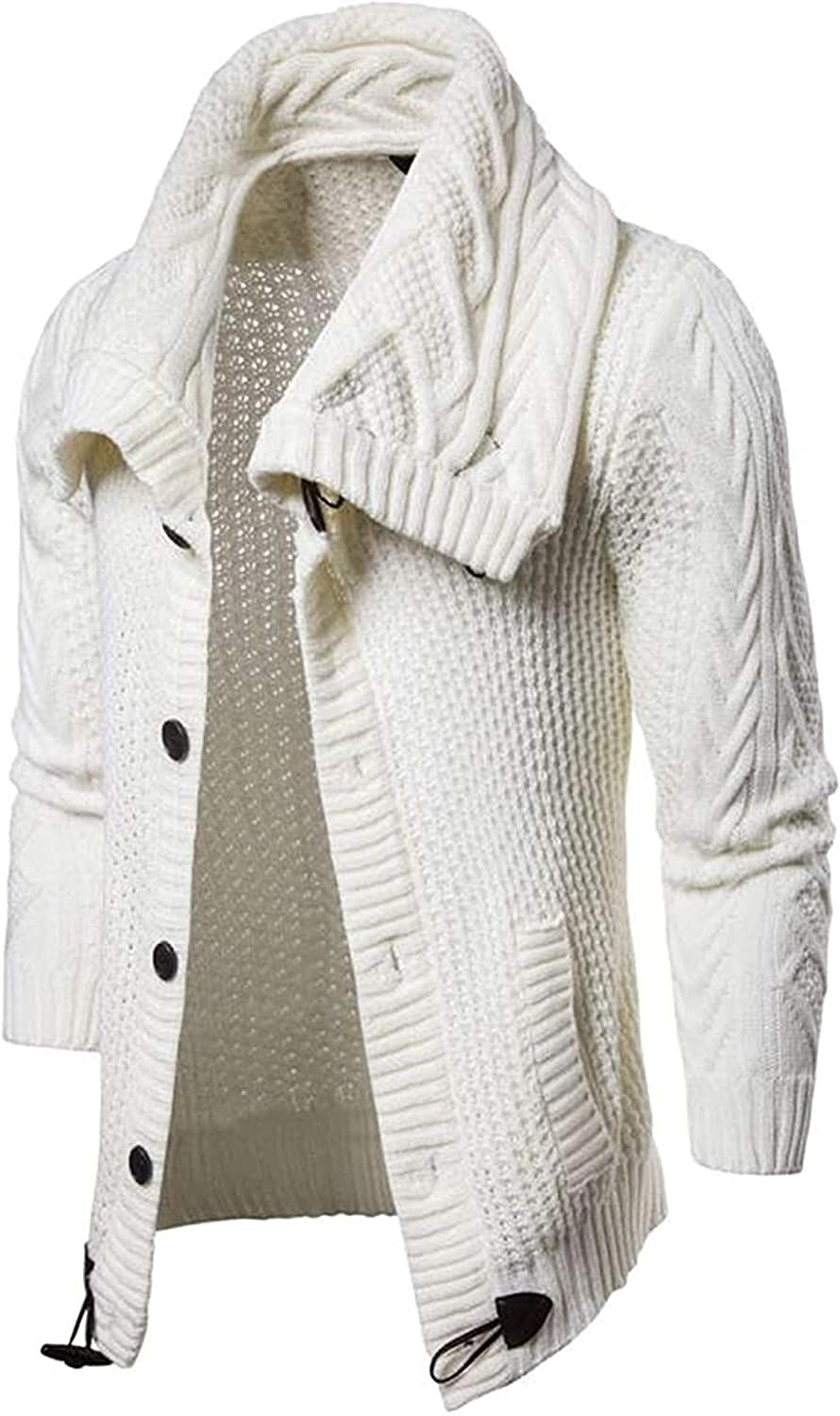 Autumn Sweater Cardigan Men Casual Slim Sweaters Male Warm Thick Horns Buckle Turtleneck Sweater