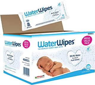 Waterwipes Baby Wipes Sensitive Newborn Skin, 12 Packs of 60