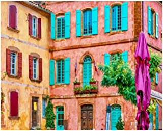 Paint By Numbers Beautiful colorful building facades made from locally mined ochre in Digital Coloring Oil Painting Canvas...