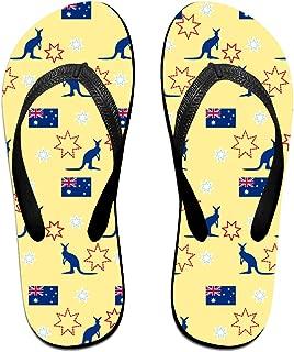 Unisex Flip Flops Kangaroo Australian Flag Personalized Thong Sandals Beach Sandals