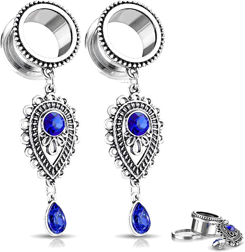 MoBody One Pair Double Flared Ear Plugs Surgical Steel Blue Stones Tear Drop Charms Dangle Ear Expanding Tunnels 2G-12mm