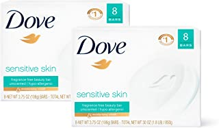 Dove Beauty Bar Gently Cleanses and Nourishes Sensitive Skin Effectively Washes Away Bacteria While Nourishing Your Skin, 3.75 oz, 16 Bars