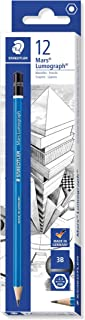 Staedtler Artist Pencils Staedtler Pencil Mars Lumograph, 3B Artist Quality Sketching and Drawing, Box of 12 (100-3B), Gre...