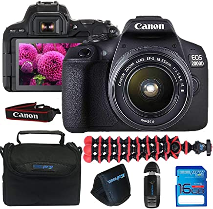 $339 Get Canon EOS 2000D / Rebel T7 Camera with EF-S 18-55mm f/3.5-5.6 is II Lens (Black) + 16GB Memory Card + Pixi Basic Accessories