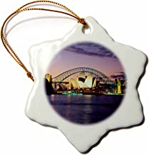 3dRose ORN_66291_1 Sydney, Australia Purple and Pink Sunset Snowflake Porcelain Ornament, 3-Inch