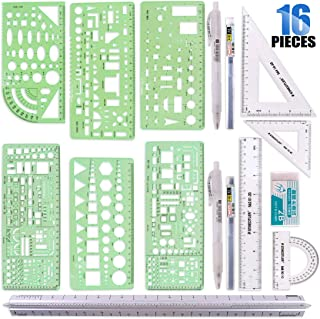 Glarks 16 Pieces Measuring Templates Building Formwork Stencils Geometric Drawing Rulers and Triangular Architect Scale Ruler with Pencil, Pencil Lead Refills, Eraser for Office and School