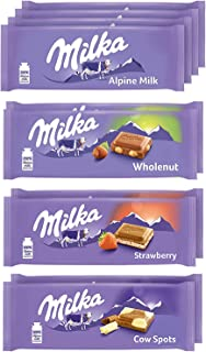 Milka European Chocolate Bars Variety Pack, Alpine Milk Chocolate, Cow Spots, Strawberry & Wholenut Hazelnut, Easter Choco...