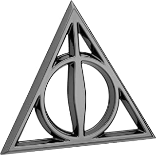 Fan Emblems Deathly Hallows 3D Car Emblem Black Chrome Harry Potter Automotive Sticker Decal Badge Flexes to Fully Adhere to Cars Trucks Motorcycles Laptops Windows Almost Anything