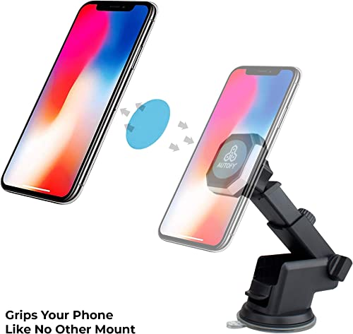 Autofy Universal Magnetic Head Car Dashboard Mobile Smartphone Holder Cradle with Suction Mount for All Cars Black
