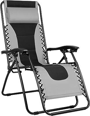 Greesum GS-TKZG1GY Oversize Padded Zero Gravity Lounge Chair Furniture, Gray