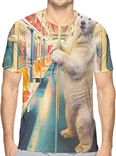 Polar Express Train Funny Polar Bear Mens 3D Printed T Shirts Short Sleeve Summer Tee