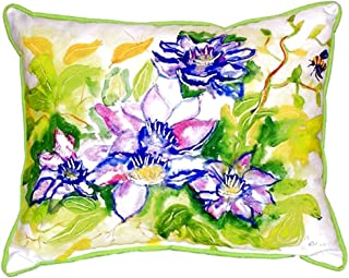 """Betsy Drake SN284 Clematis Small Indoor/Outdoor Pillow, 11"""" x14"""""""