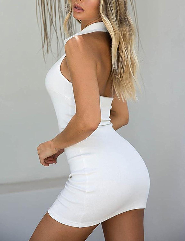 Zontroldy Women Fashion Sexy Slim Polo Rib Knit Halter Bodycon Package Hip One Step Dress