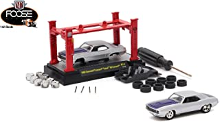 M2 Machines 1969 Chevrolet Camaro Foose 69 Camaro (Chip Silver Body w/Purple Stripe) 2017 Model Kit (Release 14) 1:64 Scale Die-Cast Vehicle & Auto-Lift Building Set (R14 17-10)