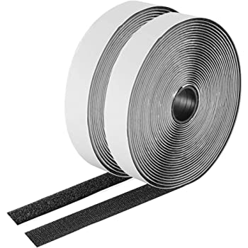 26 Feet Sticky-Back Hook and Loop Strips Roll, 1 Inch Black Self Adhesive Hook Loop Tape Double Sided Hook Loop Fastener Tape for Indoor Outdoor Home School Office