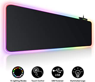 Large RGB Gaming Mouse Pad – 15 Light Modes Touch Control Extended Soft Computer..