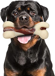 Tikaton Indestructible Dog Chew Toys for Aggressive Chewers, Real Beef Flavor Durable Dog Teething Chew Toys Bones for Lar...