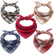 BINGPET 5 Pcs Plaid Dog Bandanas Reversible Triangle Pet Scarf for Dogs