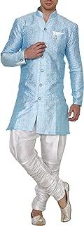 Royal Kurta Men's Jacquard Silk Floral Print Indowestern Sherwani Blue