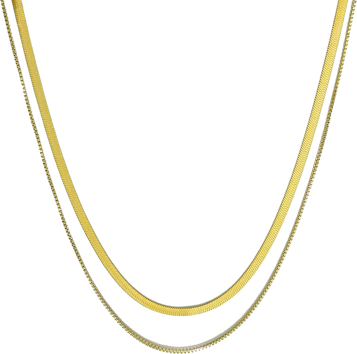 Jean Beau 18K Gold Plated Chain Choker necklace Simple Snake Herringbone Box Necklaces Thick Chunky Twisted Ribbon Rolo Chain Dainty Jewelry Gift for Women&Girls
